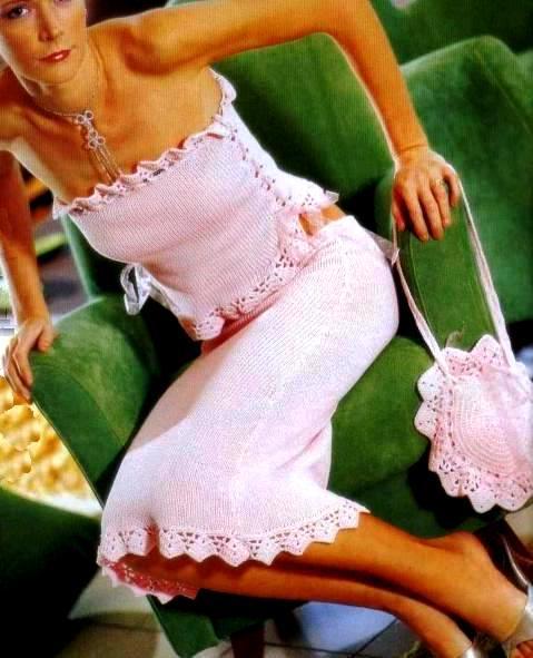 летняя вязаная юбка и топ