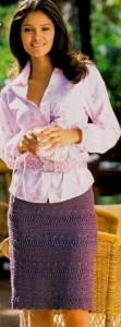 Прямая вязаная юбка крючком
