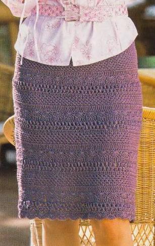 Теплая вязаная юбка крючком из мотивов схемы вязания.
