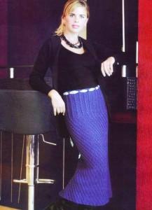 прямая длинная вязаная юбка спицами фото
