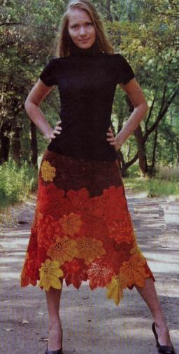 Осеннее платье вязанное крючком 36