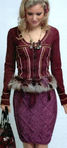 Вязаная юбка спицами с узором