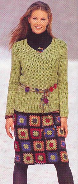 прямая вязанная юбка крючком из мотивов бабушкин квадрат.