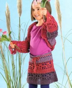 Детская вязаная юбка крючком и болеро