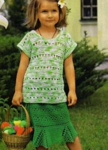 Летняя детская вязаная юбка крючком