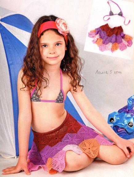 Летняя вязаная детская юбка крючком из мотивов