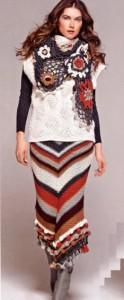 Теплая вязаная юбка в диагональную полосу спицами