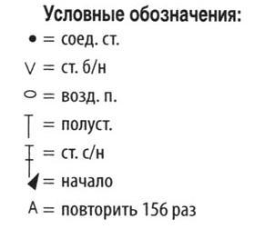 Условные обозначения к схеме вязания шарфика