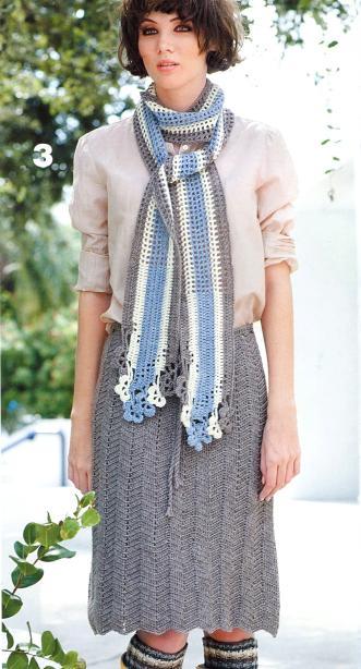 Вязаный комплект юбка крючком до колена и шарфик