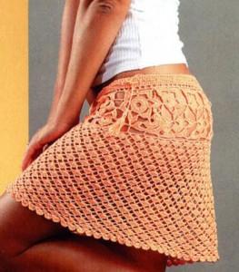 Вязанная мини юбка крючок