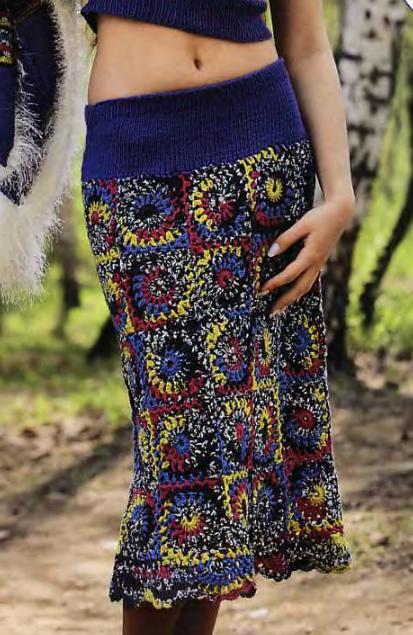 Вязаная юбка из мотивов крючком на кокетке