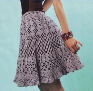Ажурная расклешенная вязаная юбка крючком