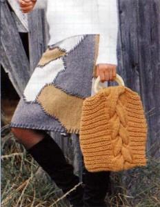фото прямая вязаная юбка спицами под пэчворк