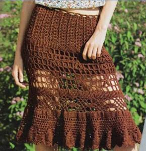 летняя ажурная вязанная юбка крючком