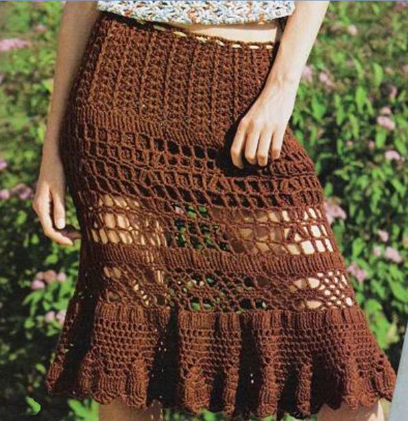 летняя ажурная вязанная юбка