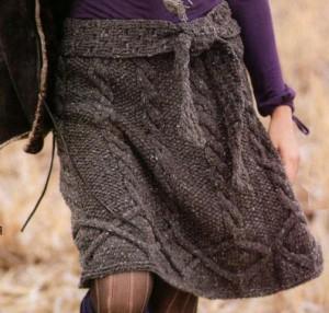 Расклешеная вязаная юбка спицами