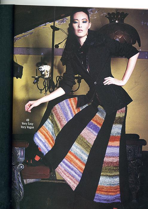 вязаная длинная юбка спицами с клиньями из вог