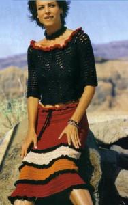 Вязаная юбка крючком с оборками