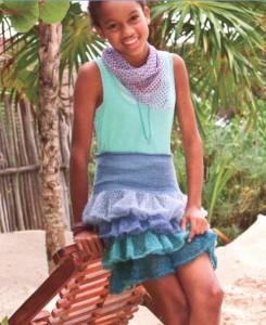 Вязаная юбка с волнами для девочки подростка спицами