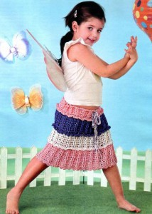 Вязаная юбочка для девочки с оборками.