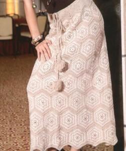 Вязание длинной юбки из мотивов крючком
