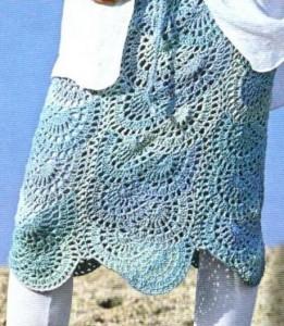 вязание кружевной юбки крючком