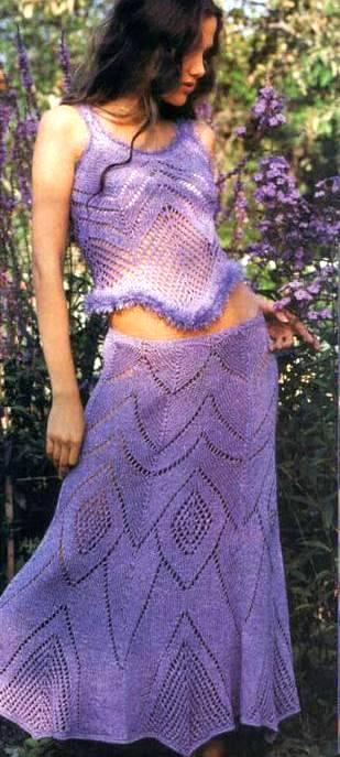 Ажурная юбка спицами, фото
