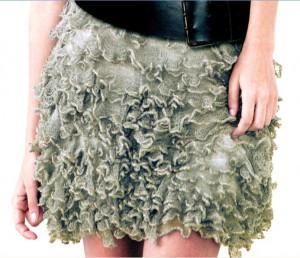 Фото короткая юбка спицами с кружевными оборками