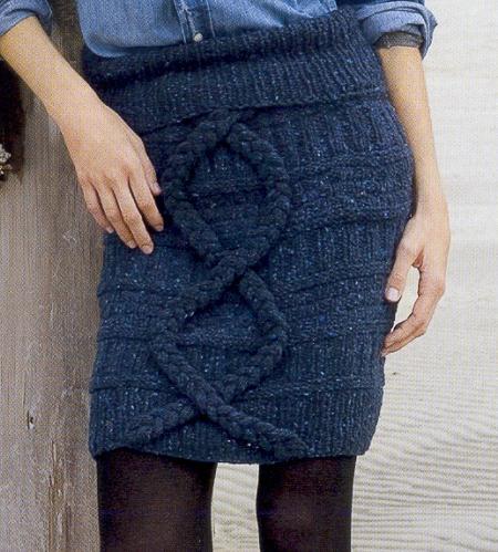 синяя короткая вязаная юбка