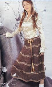 Вязаная длинная юбка крючком