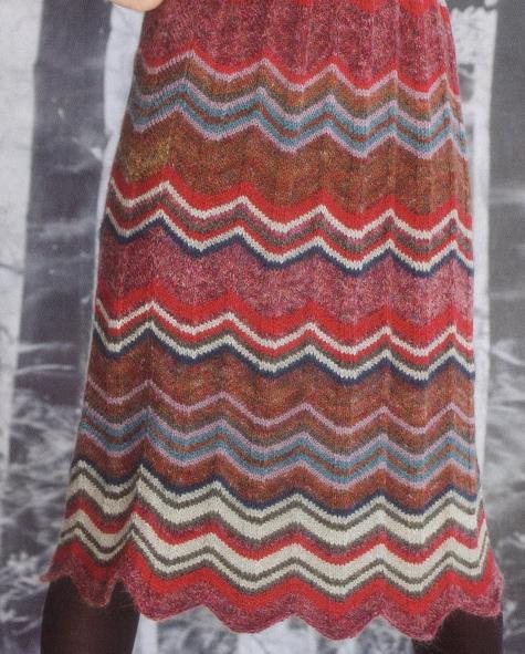вязаная юбка с узором зигзаг