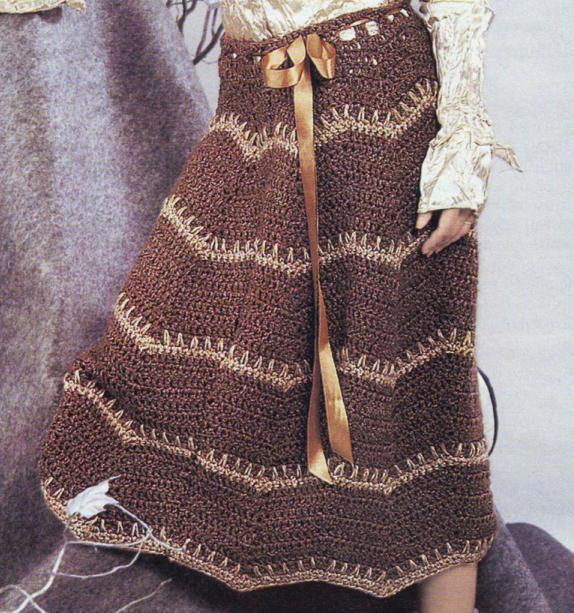 вязание длинной юбки крючком