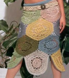 Вязание юбки крючком из круглых мотивов
