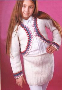 Белый вязаный костюм для девочки 9-10 лет спицы