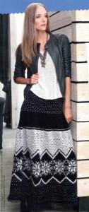 Длинная вязаная юбка с норвежским узором