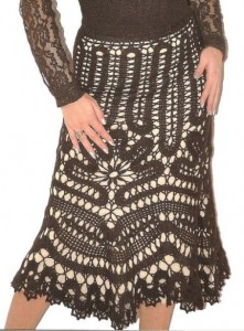 вязаная юбка из брюггского кружева