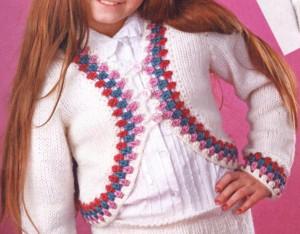 Вязаное болеро на девочку 9-10 лет спицами