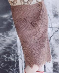 юбка спицами с ажурным узором из ромбов