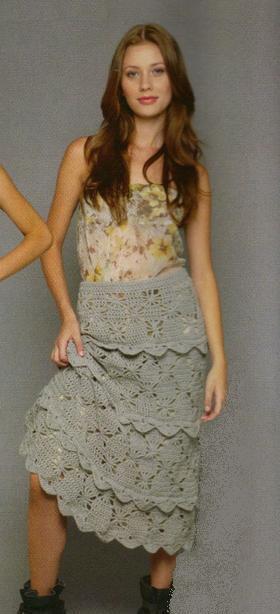 Ажурная вязаная юбка с оборками крючком