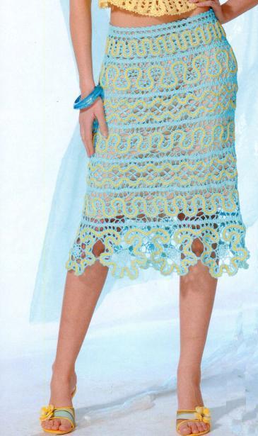 голубая вязаная юбка из брюггских кружев крючком