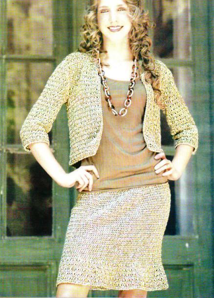 Женский вязаный костюм крючком фото