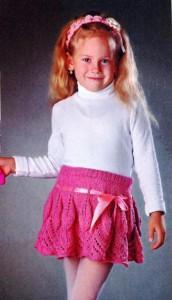 Розовая вязаная юбочка для девочки 5 лет и повязка на голову