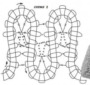 схема вязания юбки из брюггского кружева № 2