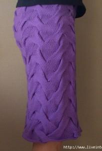 Сиреневая юбка из ко спицами