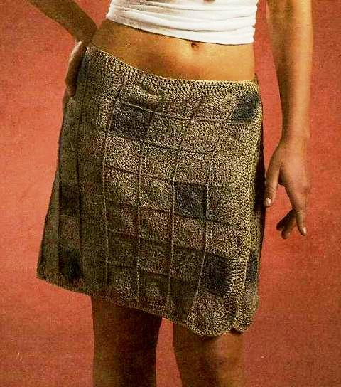 Вязаная короткая юбка с