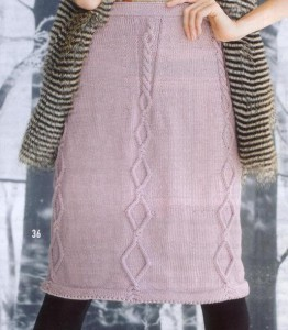 вязаная юбка с аранским узором фото