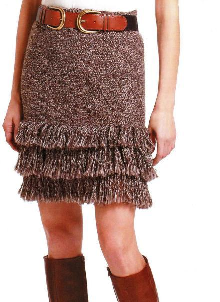 простая вязаная юбка спицами с воланами из бахромы