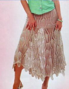 длинная вязаная юбка с узором ананасы крючком