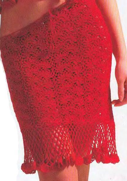 красная ажурная короткая вязаная юбка крючком фото