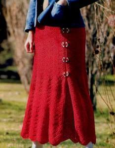 Красная длинная вязаная юбка крючком